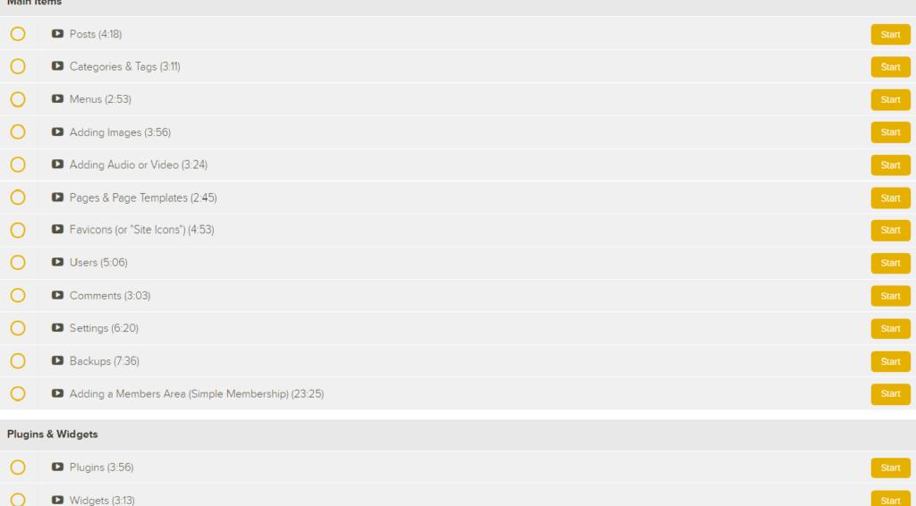 Screenshot of WP tutorial topics