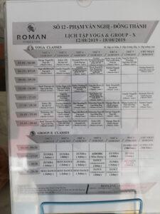 Roman Fitness Timetable
