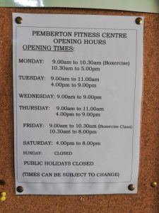Pemberton Fitness Centre Opening Hours