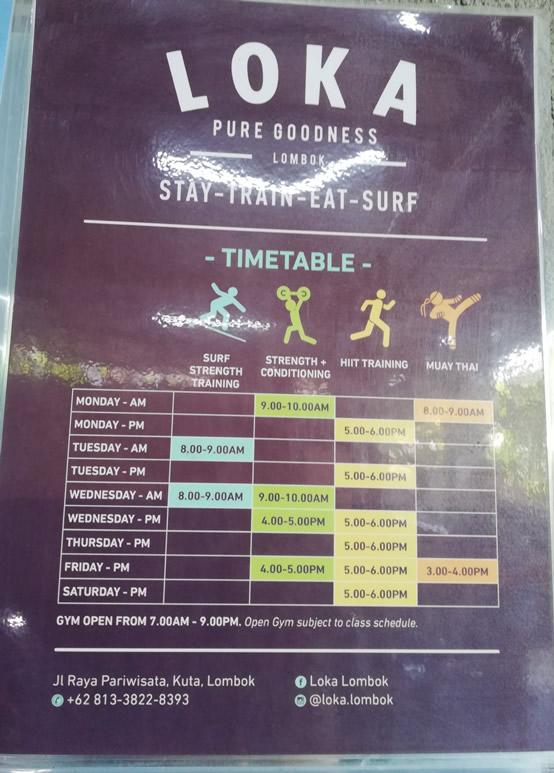 Loka Lombok Class timetable